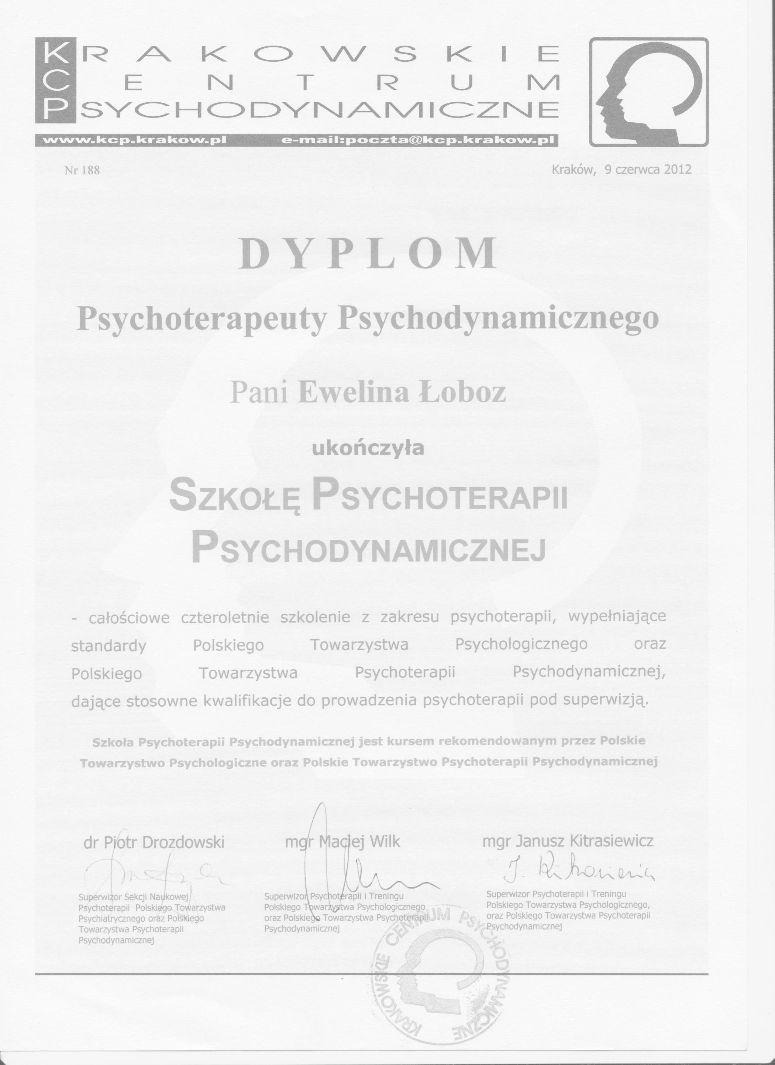 Ewelina Łoboz Psychoterapia skan dyplomu KCP